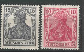 德国邮票 1916-17年 一战期间 英国间谍活动伪造德国邮票 日耳曼尼亚 2枚全新 背后鉴定章