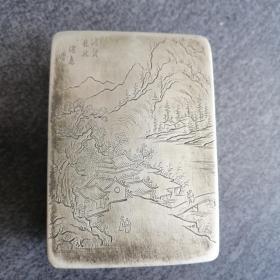 刻铜墨盒山水人物古玩清代文房铜器老白铜精品老物件古董怀旧收藏