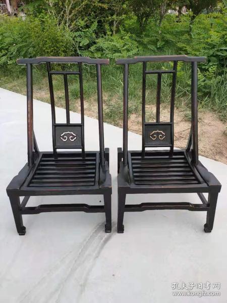 晚清時期榆木小官帽椅一對,品像包漿一流,全品無修補,正常使用