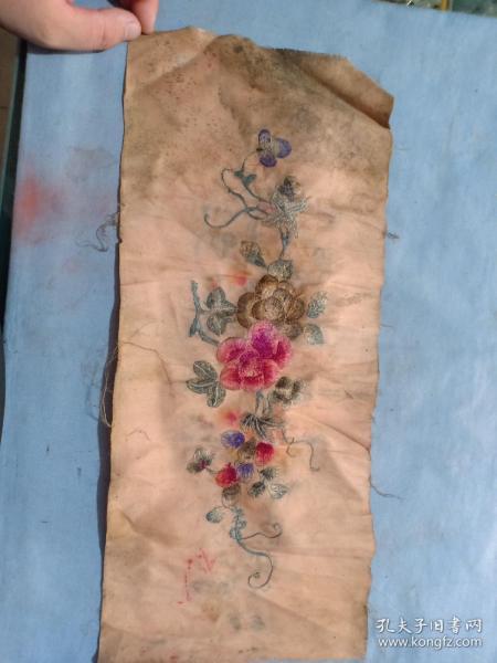 (箱14)清代刺繡  花卉繡片,44*18cm