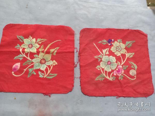 (箱14)民國 刺繡 花卉繡片,枕頭頂,一對,21*20cm