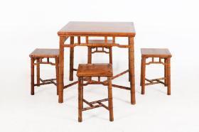 清 黃花梨木竹節方桌四凳 五件套