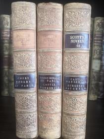1851年全真牛皮精装古董书,三册合售,欧洲历史小说鼻祖司各特《威佛利系列小说》之Count Robert of Paris《巴黎的罗伯特伯爵》Count Robert of Paris、《危险的城堡》Castle Dangerous和《一个医生的女儿》Surgeon's Daughter