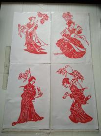 红楼十二钗人物剪纸原作全12张