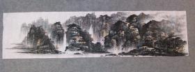 无款国画山水画 四尺单条 横幅画心 手绘原稿真迹