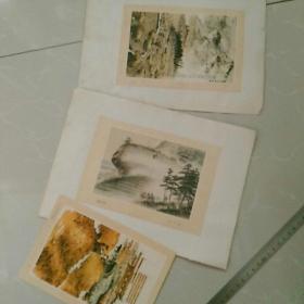 早期,〈名家:介凡,子南,赵文〉美术作品画片,存5张,背面贴在纸上,如图。要求严者慎购
