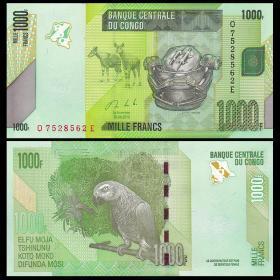 民主刚果 1000法郎纸币 2013年 外国钱币