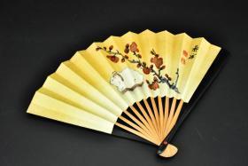 (丙4472)《日本扇子》折扇一把 茶席扇 纸质扇面 竹制扇骨 正面印刷梅花 山羊图案 背面白色无图案 扇子大骨长:15.3CM 折扇展开宽度:25CM 扇面单折最宽处尺寸:1.1CM