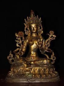 旧藏纯铜鎏金佛像 绿度母藏佛一尊 恭请供奉佛像摆件