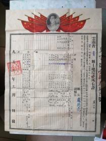 云南省呈贡县土地房产所有证