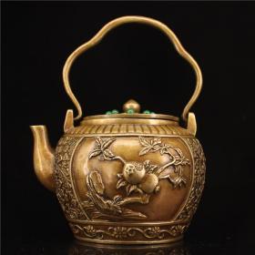 铜镶嵌宝石茶壶四