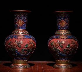 剔红漆器彩绘玉堂富贵瓶 高25cm   口径10cm 重1200克