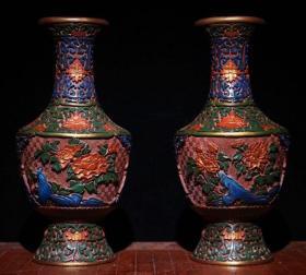 剔红漆器彩绘玉堂富贵瓶 高30cm   口径9cm 重2170克 850