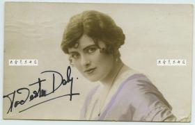 民国早期舞台剧女明星Miss Modesta Daly手写亲笔签名照片一张