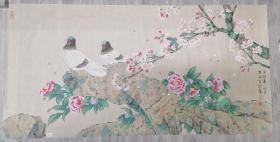 喻继高,江苏工笔花鸟画家,双鸽图
