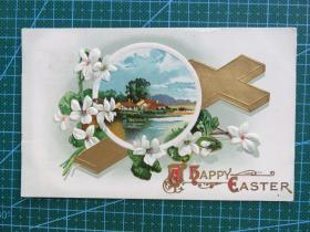 {会山书院}75#欧洲1910年左右(鲜花、十字架)凸版、贴邮票实寄手写明信片-收藏集邮-复古手账-外国邮政