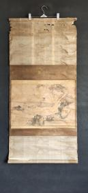 D767:回流手绘煮茶立轴(日本回流.回流老画.老字画)