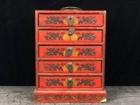 漆器盒 藥箱  珍寶盒 漆器首飾盒