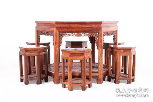 清 黄花梨木双拼六角桌六凳 八件套