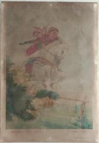 中国经典年画宣传画大展示---文革年画系列---《草原小民兵》-------虒人荣誉珍藏