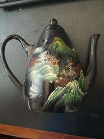 70年代出口创汇纯手工绘画漆器(茶壶)