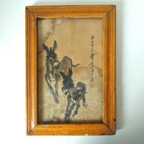 黄胄《驴》旧实木框,名人名款黄胄手绘原稿画驴图国画字画老框画老货收藏