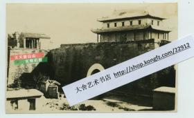 民国侵华日军占领山东聊城东昌府西城门清远门瓮城内侧老照片,13.2X8.5厘米,泛银