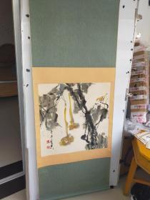 乍启典  葫芦小鸟  立轴旧裱 尺寸68x68