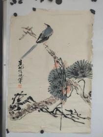 朱纪瞻   花卉软片 品相较差  上部有缺 尺寸68x45