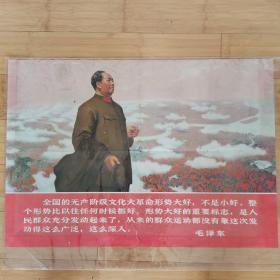 文革宣传画:全国的文化大革命形势大好,不是小好。整个形势比以往任何时候都好。形势大好的重要标志,是人民群众充分发动起来了。从来的群众运动都没有象这次发动得这么广泛,这么深入。浙江工农兵美术大学供稿  上海革命教育出版社出版  1968年第一版第一次印刷  2开  76*53厘米
