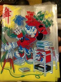 【56个合售】8.90年代怀旧卡通封面包书用塑料书皮 书套【封面图案为开舞会的米老鼠;全新未使用过的】32开用