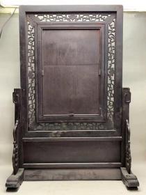 民國時期黑檀手繪《麻姑獻壽圖》瓷板插屏,包漿濃厚,品如圖