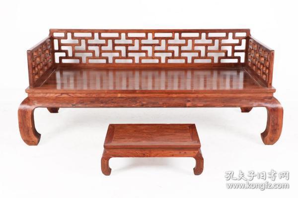 清 黃花梨木曲尺羅漢床+炕幾 兩件套