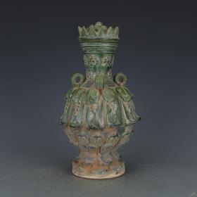 唐代唐三彩綠釉蓋瓶 仿古瓷器 古玩古董收藏真品 老物件擺件
