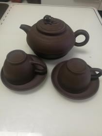 八十年代纯手工宜兴紫砂茶壶狮子钮及杯子
