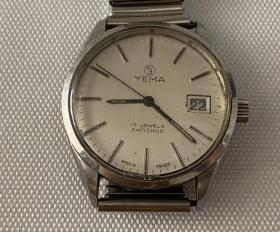 二手老旧手表法国YEMA牌手动上弦机械手表男士手表配件表