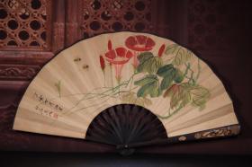 竹雕手绘纸折扇 长33cm   宽3cm   扇面展开62cm