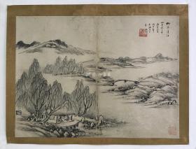 环山款柳亭清话 高士对弈图(旧绘本·尺寸27×36.5厘米·折页1张)