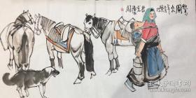 当代著名画家史国良人物画【饮马图】包手绘