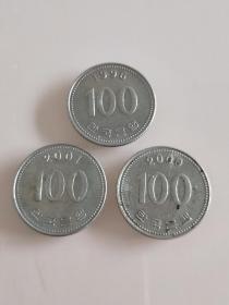 韩国1996年2000年100硬币3枚(39)