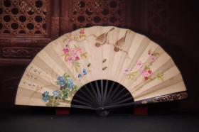 竹雕手绘纸折扇 长33cm   宽3cm   扇面展开62cm 花鸟诗文
