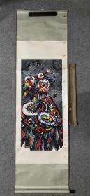 著名画家、中美协会员 张泉 国画《蔷薇》,纸本立轴,日本回流,附1995年张泉亲笔至日本的实寄封,画心96*44cm  张 泉 (1942.8—) 安徽芜湖人。擅长油画、中国画。1962年 毕业于安徽艺术学院美术系油画专业。 安徽省博物馆艺术部画家,中国美术家协会会员,高级美术师。作品《华 夏魂魄》、《皖南突围》、《淮海支前》、《复苏的土地》等入选全国美展。S9150