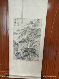 刘海粟弟子、著名书画家 陈英明绘飞瀑,原装原裱尺寸66*43