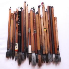 日本中国火炬牌一休园等传统特选毛笔羊毫兼毫等二手20根N699