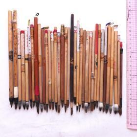 日本中国火炬牌尚文堂等传统特选毛笔羊毫兼毫等二手35根N702