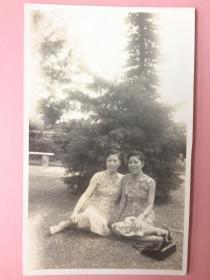 照片,美女合影,全身,2张,有旗袍