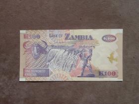 早期 贊比亞100元紙幣 外國錢幣收藏