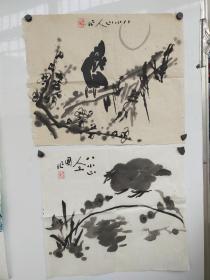 著名画家、中国美术家协会北京分会会员——钱卫国 花鸟国画作品二幅 ,纸本软片,每幅尺寸约34*34厘米!