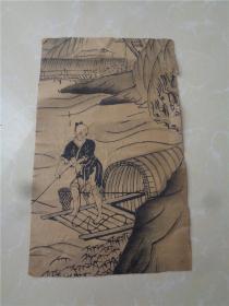清代渔夫泊舟图木板画