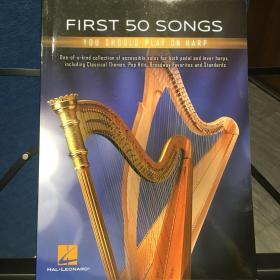 竖琴谱:First 50 songs 50首欧美通俗流行歌曲竖琴谱集,仅34弦以上扳键琴和踏板琴,少量现货不包邮